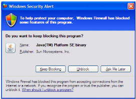 Windows firewall message example